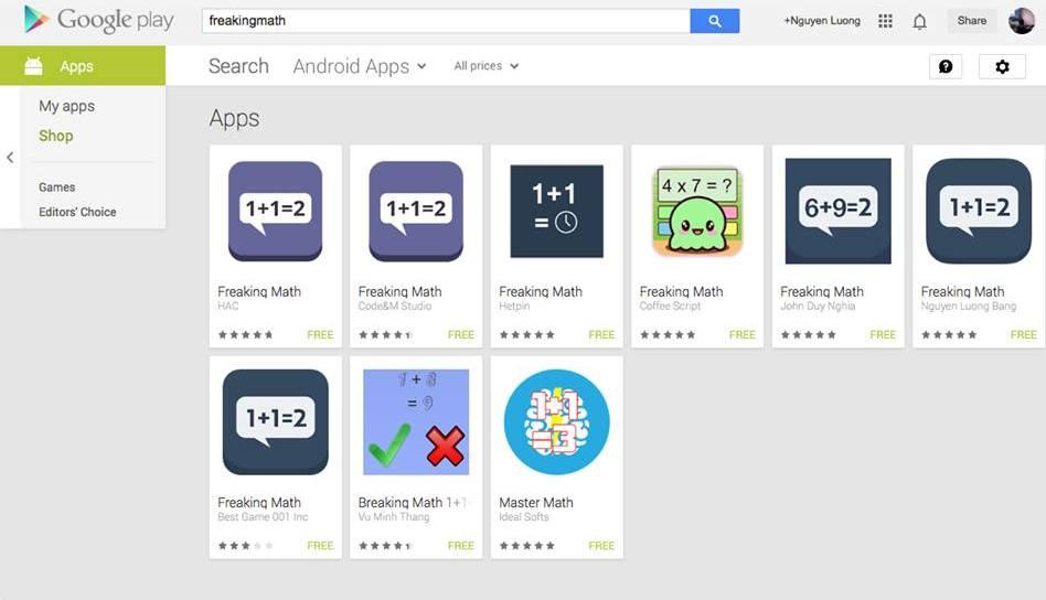 """Tràn ngập ứng dụng """"nhái"""" Freaking Math trên Google Play"""