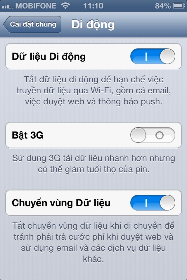 Tắt dữ liệu iPhone