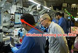 Tim Cook tung ảnh iMac chạy Windows