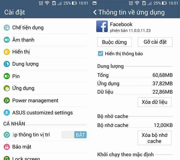 Cách khắc phục lỗi hay gặp khi tải facebook cho điện thoại di động Zenfone