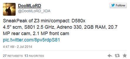 Sony Xperia Z3 Compact lộ cấu hình khủng