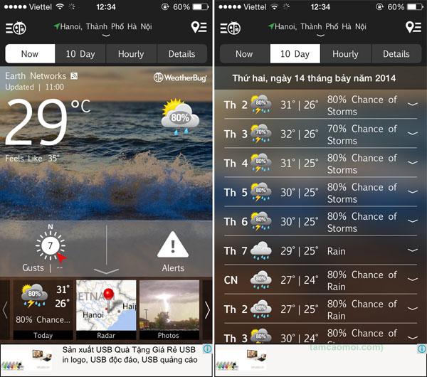 5 ứng dụng thời tiết tốt nhất trên iPhone