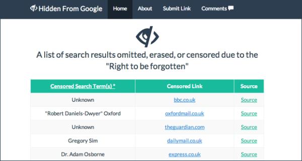 quyền được lãng quên Google hidden from trăng web