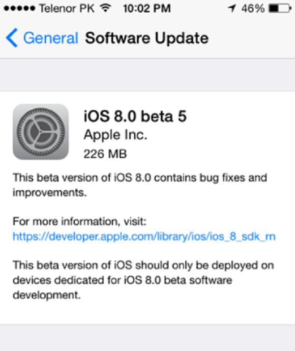 Apple phát hành iOS 8 beta 5 cho các nhà phát triển