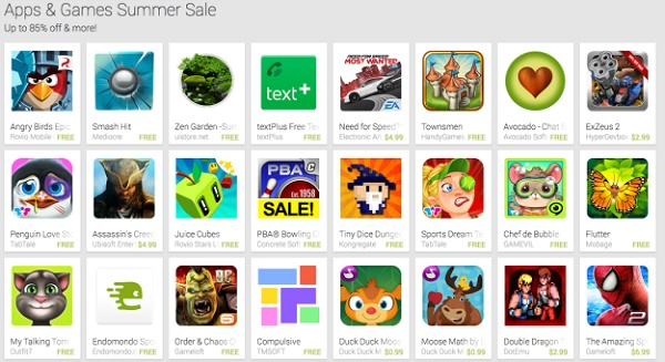 Chỉ vài ngày sau khi Apple thực hiện giảm giá mạnh cho các ứng dụng làm việc, Google đã thực hiện giảm giá cho 1 số ứng dụng trên chợ Google Play với mức tối đa là 85%.