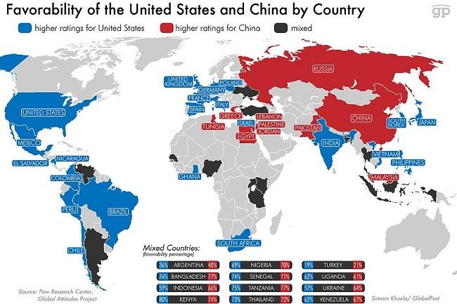 Người dân các nước nghĩ gì về Mỹ và Trung Quốc?
