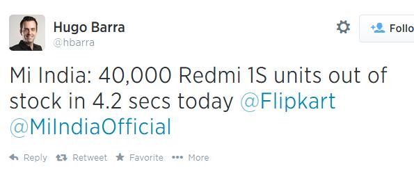 Theo công bố của Hugo Barra, người từng phụ trách bộ phận Android của Google và hiện tại đang đóng vai trò giám đốc phát triển toàn cầu cho Xiaomi, chiếc Redmi 1S của hãng sản xuất Trung Quốc này đã bán được 40.000 chiếc chỉ trong vòng 4,2 giây tại Ấn Độ.