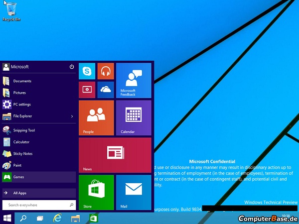 Rò rỉ ảnh chụp màn hình Windows 9