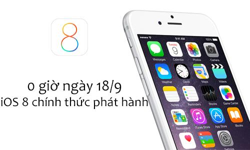 iOS 8 bản chính thức sẽ cho tải về từ 0 giờ sáng mai
