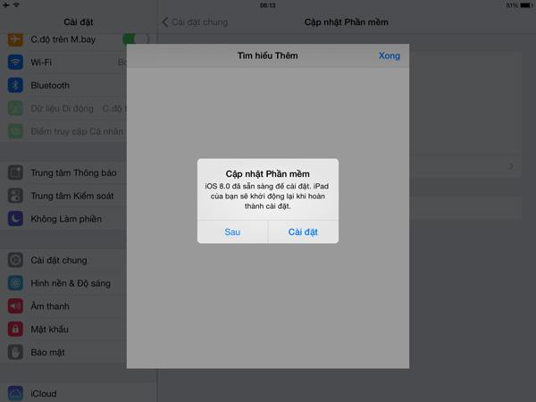 Để cập nhật lên iOS 8, bạn sẽ cần 6 – 7GB trống trên bộ nhớ của thiết bị. Quá trình cập nhật sẽ diễn ra tương đối nhanh chóng sau khoảng 3, 4 màn hình cài đặt. Lưu ý rằng bạn nên cắm sạc nếu như thực hiện cập nhật trực tiếp trên iPhone/iPad.