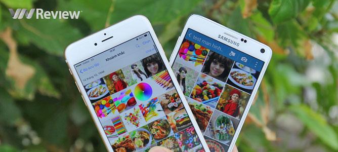 Đọ màn hình Samsung Galaxy Note 4 và iPhone 6 Plus