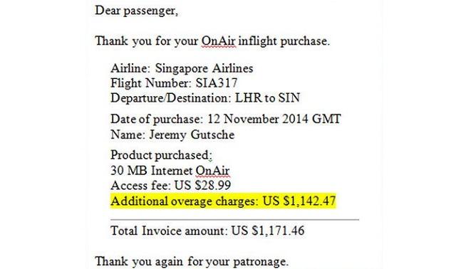 Hành khách phải thanh toán hóa đơn trên 1000 USD cho dịch vụ WiFi của Singapore Airlines