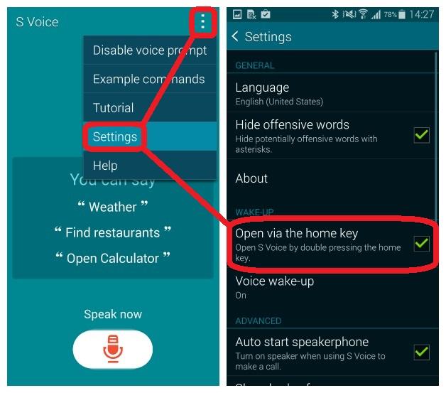 Smartphone Galaxy luôn đi kèm rất nhiều phần mềm... rác khiến nặng máy và tốn pin vô ích. Thật may mắn, bạn có thể tự gia tăng độ mượt cho chiếc S5 của mình bằng cách tắt đường tắt phím Home của S Voice, một trong những tính năng gây tiêu tốn sức mạnh phần cứng nhất trên smartphone Samsung.