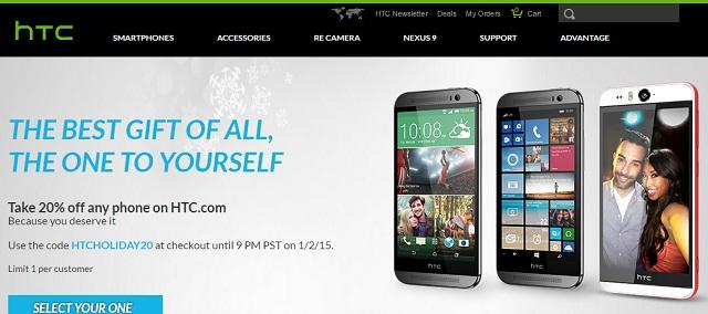 HTC sẽ giảm 20% giá thành sản phẩm mua trên website công ty đến ngày 2 tháng 1