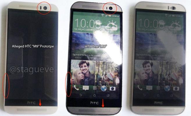 """Chỉ vài ngày sau khi lộ những bức ảnh đầu tiên, HTC One M9 đã được chụp ảnh """"đọ dáng"""" cùng đàn anh One M8. Thế hệ HTC One mới sẽ gọn gàng hơn người tiền nhiệm."""