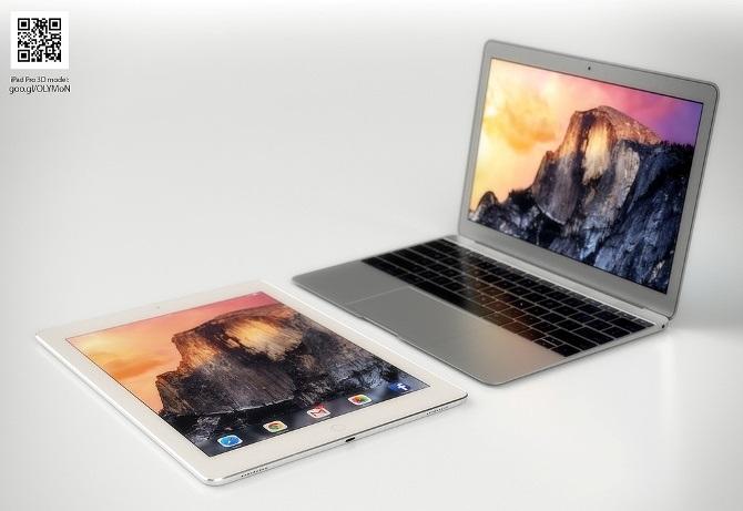Ảnh dựng đọ dáng iPad Pro 12 inch và MacBook Air 12 inch