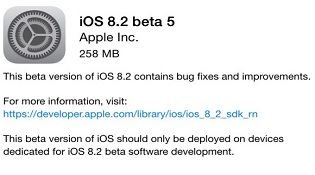 iOS 8.2 beta 5 đã sẵn sàng để tải về
