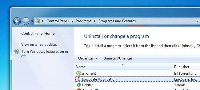 Cách gỡ phần mềm EpicScale