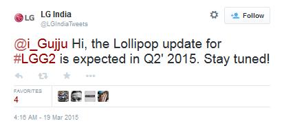 LG Ấn Độ xác nhận G2 sẽ được cập nhật Lollipop trong quý 2