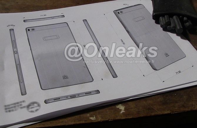 Rò rỉ bản thiết kế Huawei P8, tích hợp máy quét vân tay?