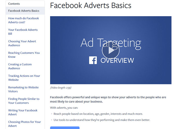 Facebook giới thiệu trang đào tạo quảng cáo miễn phí