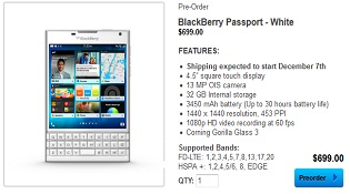 Đã có thể đặt hàng trước phiên bản BlackBerry Passport màu trắng