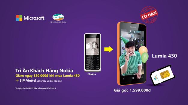 Xuất trình máy Nokia cũ được mua Lumia 430 giảm giá