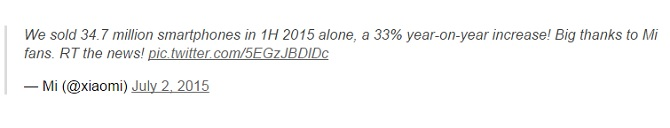 Xiaomi bán được 35 triệu thiết bị trong Quý 1/2015