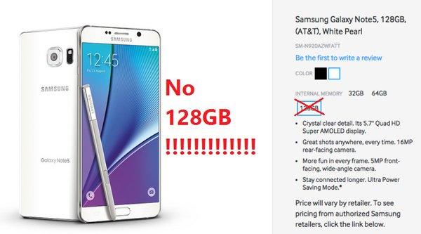 Samsung - Không có phiên bản 128 GB cho Galaxy Note 5 và S6 edge+