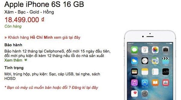 iPhone 6s xách tay rớt giá mạnh ở Việt Nam, chỉ còn hơn 18 triệu đồng