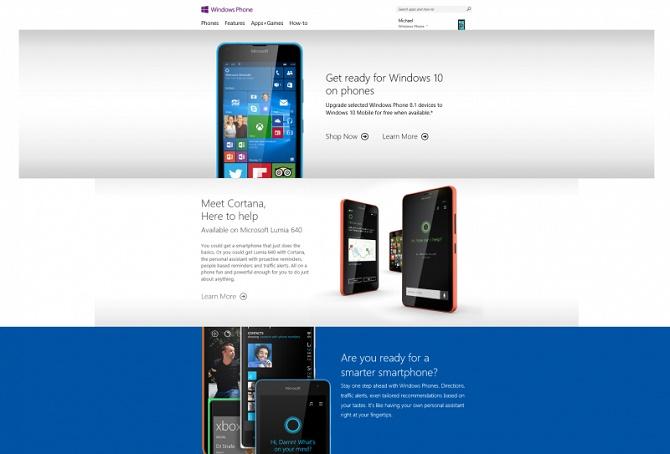 Khi truy cập vào windowsphone.com, bạn sẽ được chuyển về trang chủ của Microsoft.