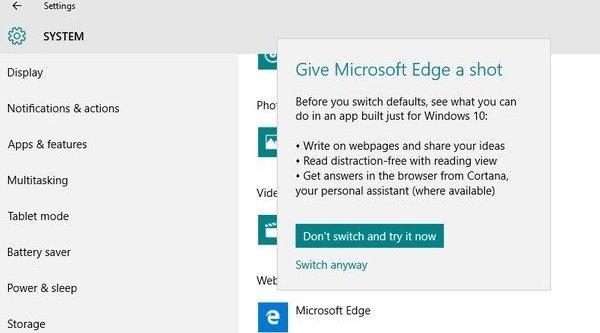 Microsoft dụ dỗ người dùng xài ứng dụng mặc định trên Windows 10