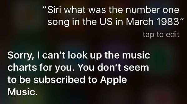 Không đăng ký Apple Music, Siri sẽ không trả lời các câu hỏi về âm nhạc