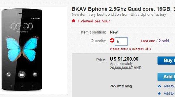 Bphone được bán giá 1200 USD trên eBay Nhật
