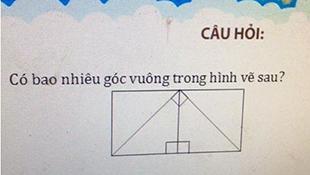 Bài toán lớp 3 tìm số góc vuông gây tranh cãi