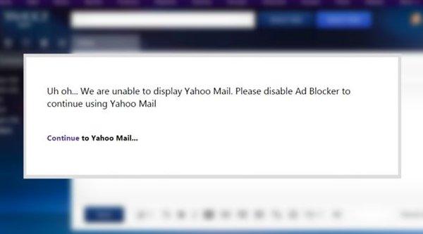 Yahoo Mail sẽ không hoạt động nếu người dùng chặn quảng cáo