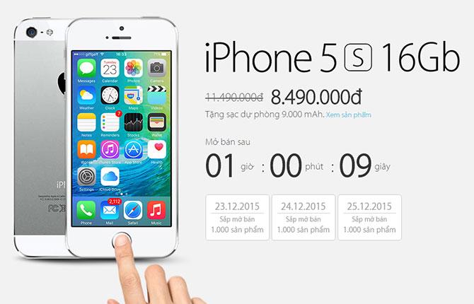iPhone 5s chính hãng giảm giá mạnh còn 8,49 triệu đồng