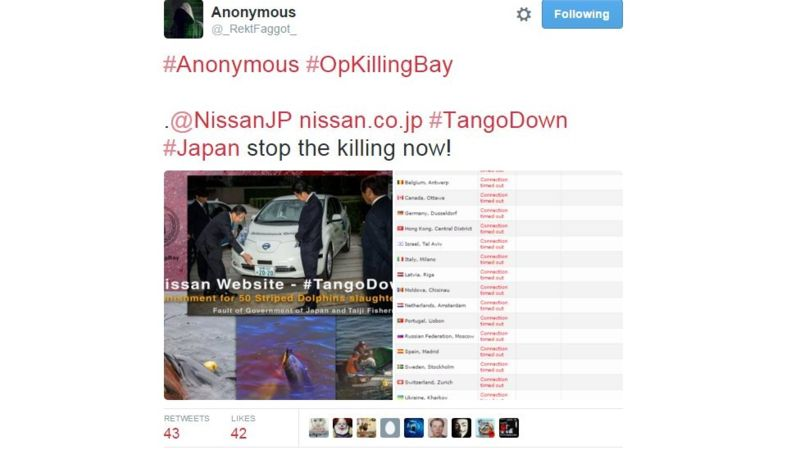 Anonymous đánh sập các trang web của Nissan vì... cá voi