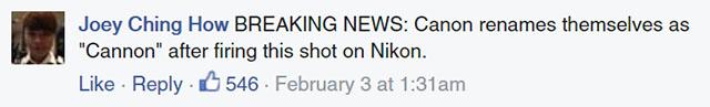 Canon đá đểu Nikon
