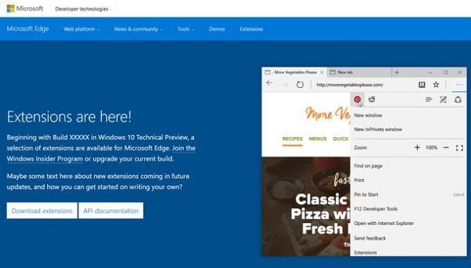 Trình duyệt Edge của Microsoft sẽ sớm hỗ trợ extension (phần mở rộng)