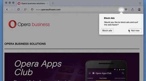 Opera 37 trang bị sẵn công cụ chặn quảng cáo trên web