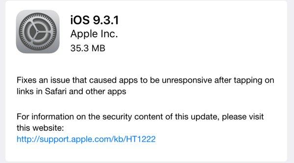Đã có iOS 9.3.1 chữa lỗi treo Safari