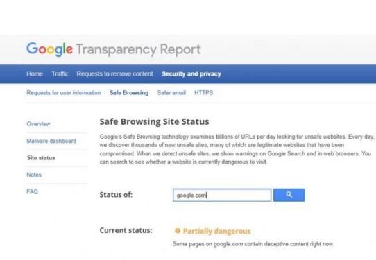 """Google cảnh báo google.com """"có nguy hiểm"""""""