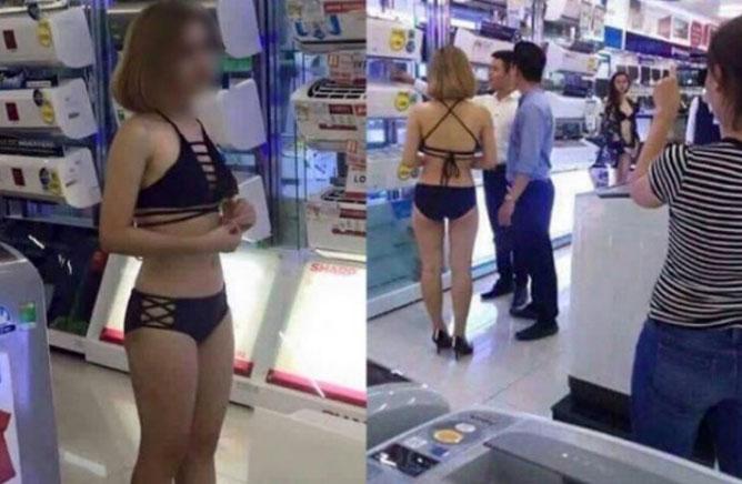 Bức ảnh các cô gái mặc bikini tiếp thị điều hoà ở Trần Anh