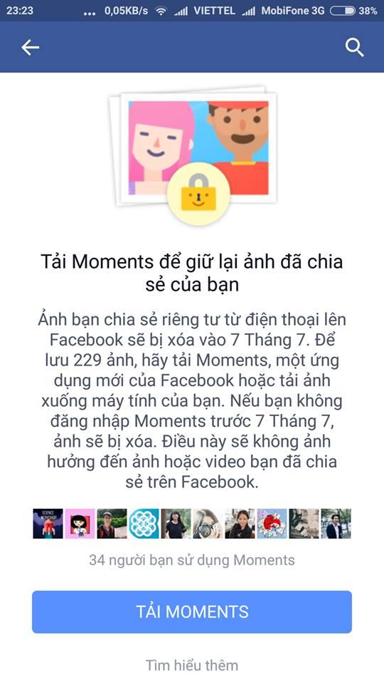 Facebook thông báo moments