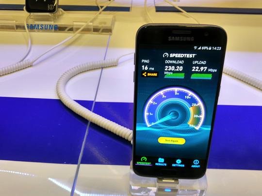 Tốc độ tải xuống/tải lên của 4G MobiFone đo được trung bình khoảng 230Mbps/22MBps tại TP. HCM