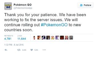 Pokémon GO tạm dừng phát hành ra toàn cầu