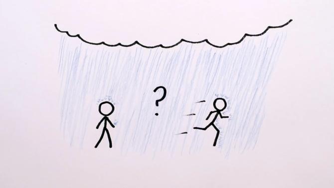 Khi gặp mưa, đi bộ hay chạy tốt hơn