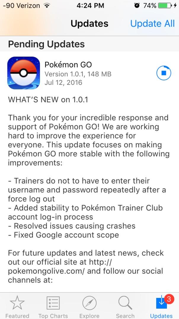 Pokemon GO tung bản cập nhật 1.0.1 cho iOS: cải thiện tính riêng tư và sự ổn định
