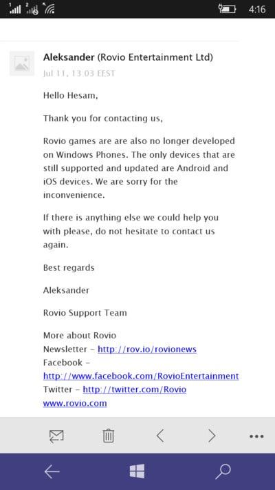 Rovio sẽ ngừng hỗ trợ Angry Bird trên các thiết bị chạy Windows